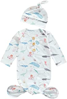 Newborn Baby Boys Girls Floral Sleepwear with Headband Animal Sleeping Bag Coming Home Outfits 2Pcs Outfit