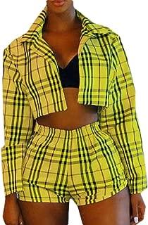 Womens Plaid Print Open Front Long Sleeve Blazer Jacket + Short Set 2 Piece Outfit