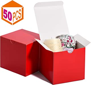 MESHA Kraft Boxes,Paper Gift Boxes with Lids for Gifts, Crafting, Cupcake Boxes,Boxes for Wrapping Gifts,Bridesmaid Proposal Boxes (Red-50Pcs)