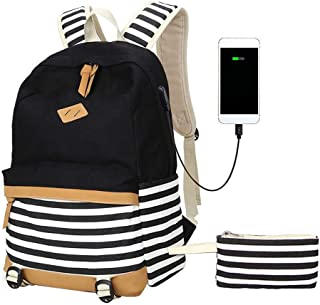Renquen Marineblauer Schulranzen aus Segeltuch für Studenten, Laptop-Rucksack für Damen und Herren