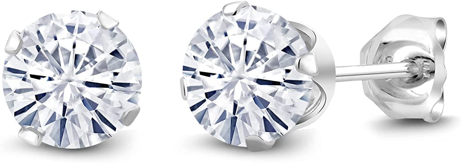 925 Sterling Silver Created Moissanite by Stud Gem 40% OFF Cheap Sale Stone Popular products King Ea