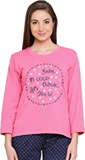 Clovia Women's Cotton Printed Full Sleeves T-Shirt in Pink