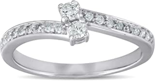 1/4 Ct Two Stone Diamond Engagement Forever Us Ring White Gold Anniversary Band