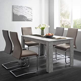 Germanvox Table de salle à manger moderne, gris béton avec bande réversible blanche ou noire, 138 x 80 x 74 cm