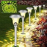Molbory Solarleuchte Garten Warmweiß, 4 Stück wasserdichte Solar Gartenleuchte, LED Außenleuchte Solarlampe für Garten Rasen Terrasse Auffahrt Deck Hof Hochzeit
