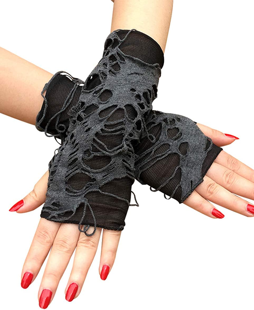 May&Maya Women's Distressed Arm Warmers Fingerless Mittens with Thumb Hole,Fashion Gloves,Halloween Gloves
