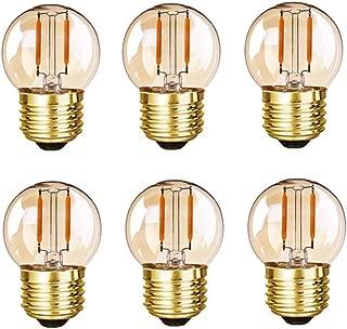 Grensk - G40(G16) Edison LED Filament Mini Globe Light Bulb 1W Equivalent to 10 Watt Incandescent - E26 Screw Base Bulbs Ultra Warm White 2200K(Decorative Lighting) Non Dimmable -6Pack (Amber Glass)