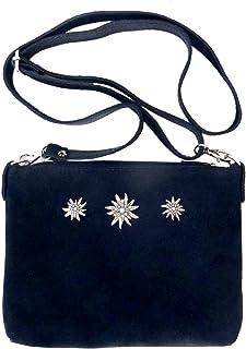Schuhmacher Trachtentasche Dirndltasche kleine Umhängetasche Clutch Wild-Leder dunkelblau