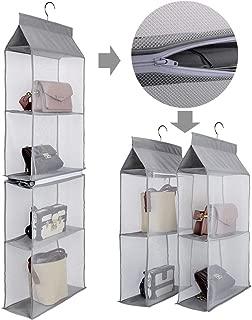 Aoolife Hanging Purse Handbag Organizer,Clear Hanging Shelf Bag Collection Storage Holder-Dust-Proof Closet Wardrobe Hatstand Space Saver,4 Shelf(Grey)