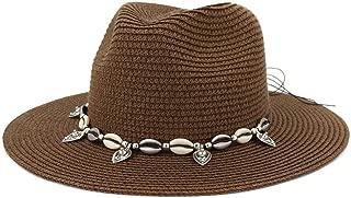 Outdoor Bucket Sun Hat Summer Women's Straw Sun Hat Party Shell Fringe Jazz Cap Vacation Sun Hat Floppy Hat Wheat Straw Hat (Color : Coffee, Size : 56-58CM)