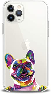 Cavka TPU Cover for Apple iPhone Case 11 Pro Xs Max X 8 Plus Xr 7 SE 6s 5 Cute French Bulldog Smooth Flexible Print Colored Dog Design Slim fit Soft Gift Funny Animals Clear Lightweight Girls Paws