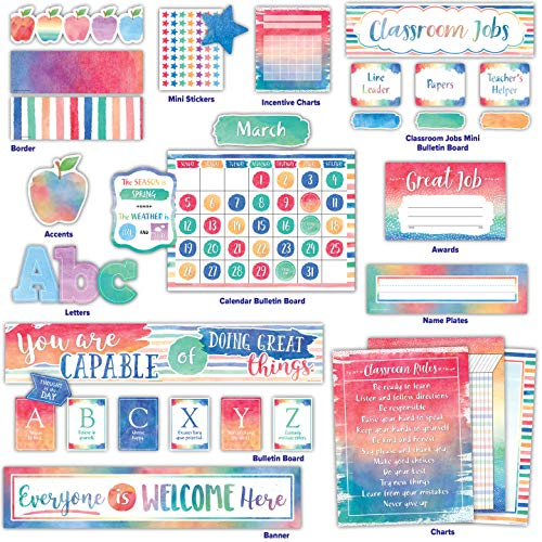 Teacher Created Resources Watercolor Classroom Kit (32405)