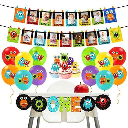Kreatwow Monster 1st Birthday Decorations Kit - Monster Bash Photo Banner Balloons Cupcake Toppers para niños Little Monster Party Supplies