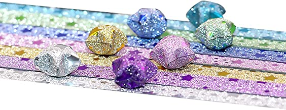 Asien Star Origami Paper Star Pattern 7 Style of 140Pcs Lucky Star Glitter Origami Paper DIY Star Paper Strip