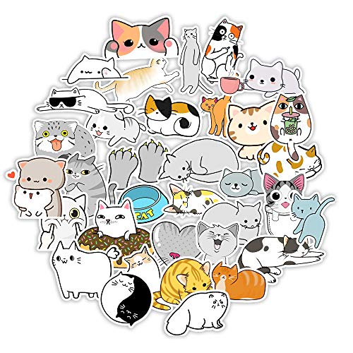 50 Pack Cat Stickers Water Bottles Laptop Car Hydroflasks Phone Guitar Skateboard Computer Cute Cartoon Anime Cat Stickers Vinyl Sticker Waterproof Aesthetic Trendy Decals for Teens Boys Girls Adults