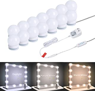 Vanity Mirror Lights, 14 Pcs Dimmable Led Vanity Makeup Light for Mirror Stick on Lights, 3 Color Modes, Plug in Makeup Mirror for Dressing Room (Mirror Not Included) (Multi-Colored)