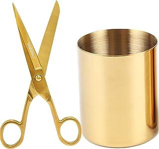 ذهبي متعدد من الذهب حامل قلم رصاص مجموعة من النسيج المقص الحرفية مزهرية صغيرة أصفر ذهبي المدرسة مكتب مكتب لوازم منظم ديكور