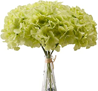 Aviviho Hydrangea Silk Flowers Green Heads Pack of 10 Full Hydrangea Flowers Artificial with Stems for Wedding Home Party ...