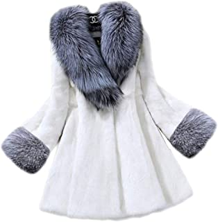 Women's Faux Fur Long Peacoat Fluffy Long Sleeve Fuzzy Chunky Sweater Cape for Work Daily