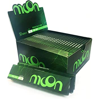 Moon Unbleached Rolling Papers 108*45mm /& Tips 24 booklets=768 leaves Smoking