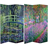 Oriental Furniture 6 ft. Tall Double Sided Works of Monet Canvas Room Divider - Water Lily/Garden
