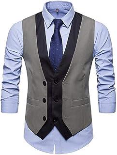 MU2M Men Casual Contrast Single Breasted V-Neck Design Waistcoat Business Suit Vest