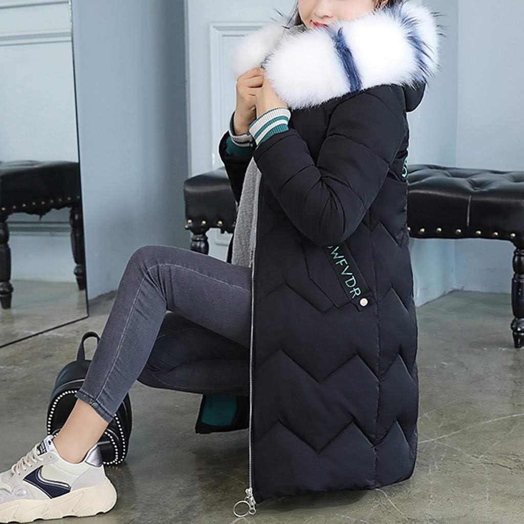 Women Fashion Long Cotton-Padded Jackets Pocket Faux Fur Hooded Coats Outerwear