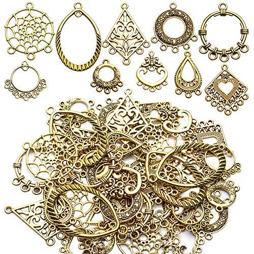 Earring Connectors Charms, 40pcs 10 Styles Tibetan Earring Charms Connectors Bohemian Chandelier Charms Metal Embellishments for DIY Dangle Earring Drop Jewellery Making Kits, Antique Golden