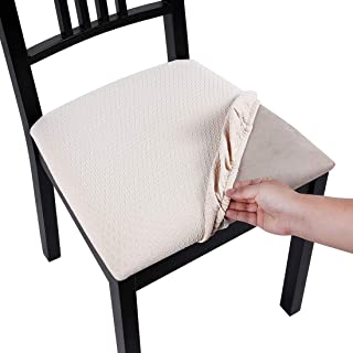 Homaxy Premium Jacquard Dining Room Chair Seat Covers, Washable Spandex Stretch Dinning Chair Upholstered Cushion Cover, Waffle Slipcover Protectors with Ties - Set of 2, Beige