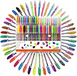 Coloured Gel pens, Gel pens Set, Including Metallic, Pastel Colours, neon, Glitter for Adult Colouring Books, Scrap Booking, Dyeing, doodling, Sketching and Craft, Pack of 48 Rollers with 1.0 mm tip