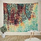 Goldbeing indischer Wandteppich Wandbehang Tuch Wandtuch Gobelin Tapestry Goa Dekotuch Tagesdecke - Türkis Halbkreis -  (203 x 153cm) Größe: L