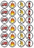 24Fire Motor-/Feuerwehr essbarem Premium Stärke Süße Vanille, Wafer Reispapier Cupcake Topper/Dekoration