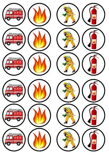 24 x Cupcake-Topper/-Dekorationen, Motiv: Feuerwehrmann / Feuerwehrmann, gesüßt, Vanillegeschmack, essbares Oblaten-Reispapier