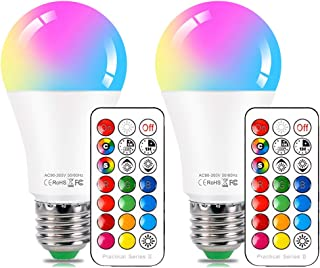 LED Color Changing Light Bulb with Remote Control,10W E26 RGB+Daylight White LED Bulbs Dimmable with Memory Function,Ideal Lighting for Home Decoration,Stage,Bar,Party,2-Pack