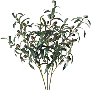 Lanldc 3 pcs 28'' Green Artificial Olive Stems Branches Fake Flowers Branch Leaves for Home Office Decor