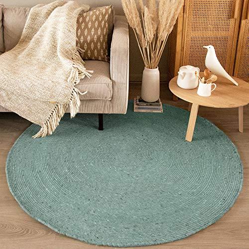 FRAAI Wollteppich Rund - Wise Blau 364 - Ø 150cm - Wolle - Flachgewebe - Einfarbig - Ländlich, Skandinavisch - Wohnzimmer, Esszimmer, Schlafzimmer