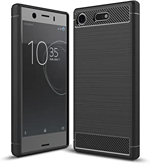 Xperia XZ1 Compact Case, Ikwcase Carbon Fiber Skin Resilient TPU Shockproof Armor Protective Case Cover for Sony Xperia XZ...