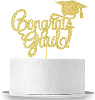 INNORU Congrats Grad Cake Topper - Gold Glitter Class of 2020 Graduate Party Decorations Supplies - High School Graduation, College Graduate Cake Topper