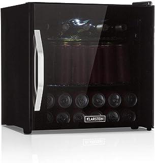 Klarstein Beersafe - Minibar, Mini-Kühlschrank, Getränkekühlschrank, leise, 42 dB, Edelstahl, Glastür, 5-stufiger Temperaturregler, 2 Einschübe, 47 Liter, schwarz