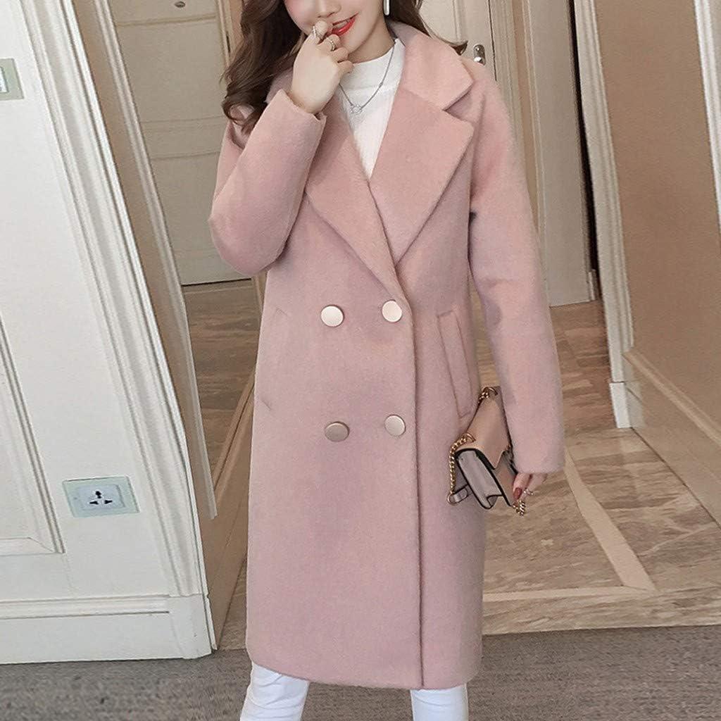 Lazzboy Damen Winter Mantel Wollmantel Tasche Revers Zweireihig Trenchcoat Rosa-a