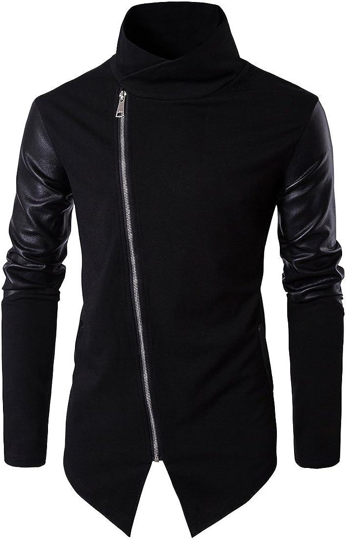 TRISTIN Men Cool Casual Long Sleeve Oblique Zipper Hip Hop Hoodie Fashion Slim Fit Pullover Lightweight Black Sweatshirt
