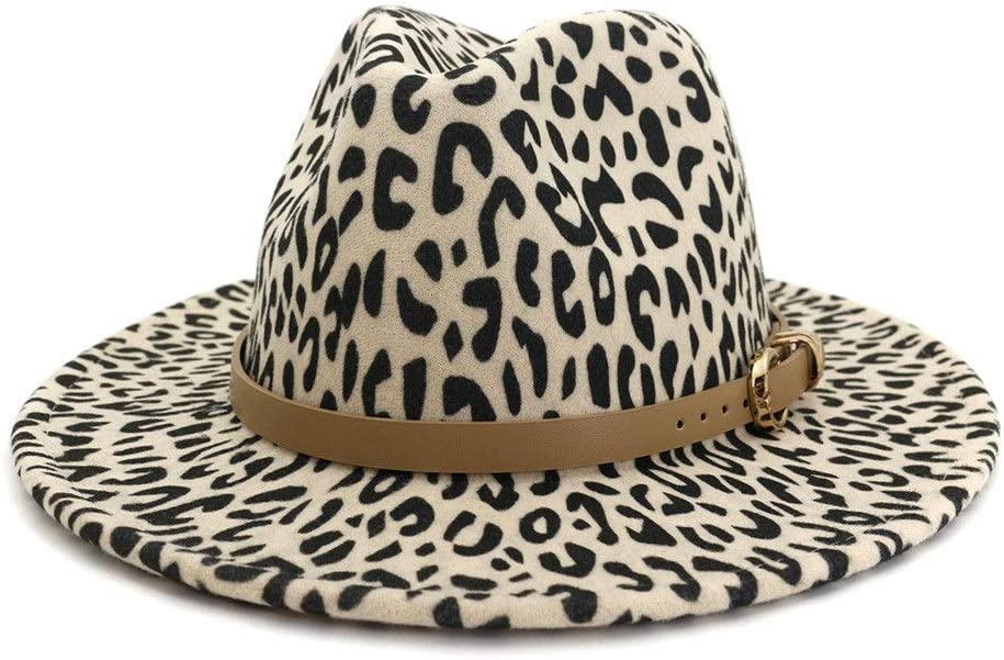 LHZUS Hats Autumn Winter Men Women Wool Polyester Felt Hat Leopard Print Panama Fedora Hat Sun Hat (Color : Cream, Size : 59-60cm)
