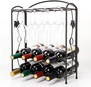 HoroM Tabletop Wine Glass Rack, Foldbale Metal Wine Holder for 4 or 8 Bottles and 8 Wine Glasses, Easy Assembly