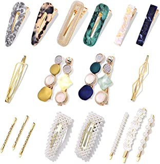 20Pcs Pearl Hair Clips - Cehomi Fashion Korean Style Pearls Hair Barrettes  Sweet Artificial Macaron Acrylic Resin Hair Barrettes Hairpins for Women,Ladies and Girls Headwear Styling Tools Hair Accessories