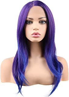 "Emmor 22"" Purple Lace Front Wigs for Women With Blue Highlight Long Natural Curly Wig Violet Synthetic Hair Replacement Daily Party Cosplay"