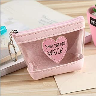 Guoshang Jelly Transparent Coins Wallet with Keyring-Candy Color Quilted Chain Strap Clear Handbags Transparent Tote Purses for Women