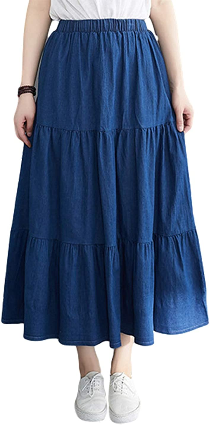 Uaneo Womens Denim Casual Tiered Pleated Elastic Waist A Line Maxi Long Skirts