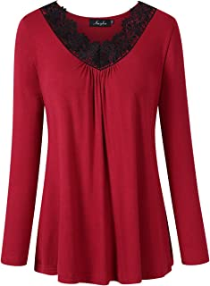 fdaa370a3b8 AMZ PLUS Women's Plus Size Long Sleeve Lace Stitching V Neck Blouse Tunic  Top