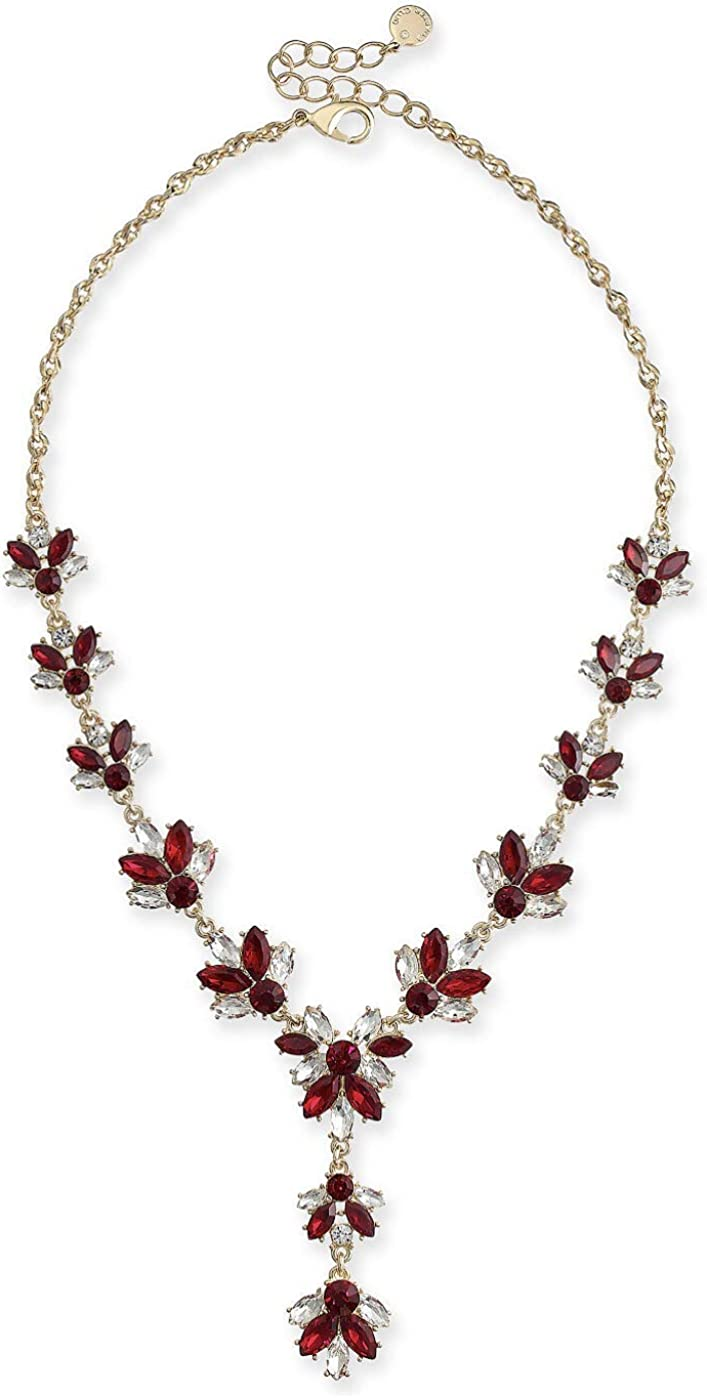 Charter Club Gold-Tone Crystal & Stone Lariat Necklace, 17