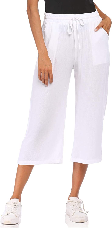 Wildtrest Women's Drawstring Cropped Wide Leg Pants Casual Loose Cotton Capri Trouser